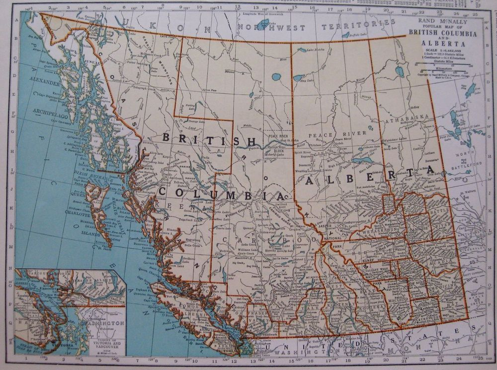1937 vintage british columbia map alberta map canada 1930s 1937 vintage british columbia map alberta map canada 1930s antique map 2833 gumiabroncs Image collections