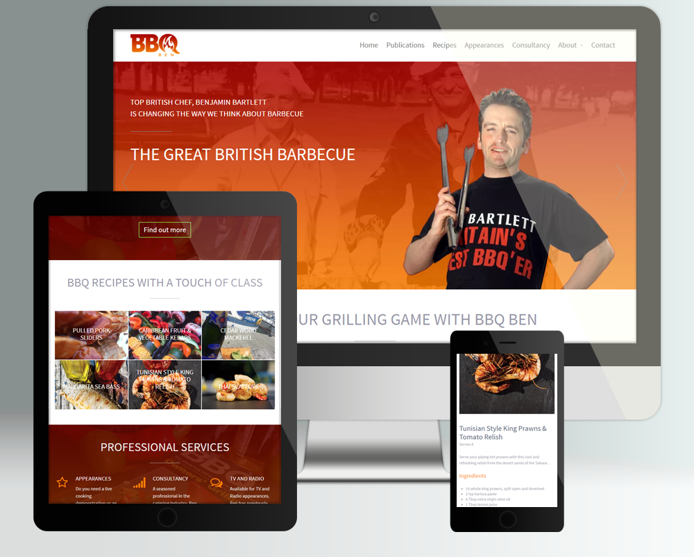 Web Design By Dryad Media For Celebrity Chef Benjamin Bartlett Aka Bbq Ben Ben S Site Has Been Designed To Work Across Devic Celebrity Chefs Fun At Work Bbq
