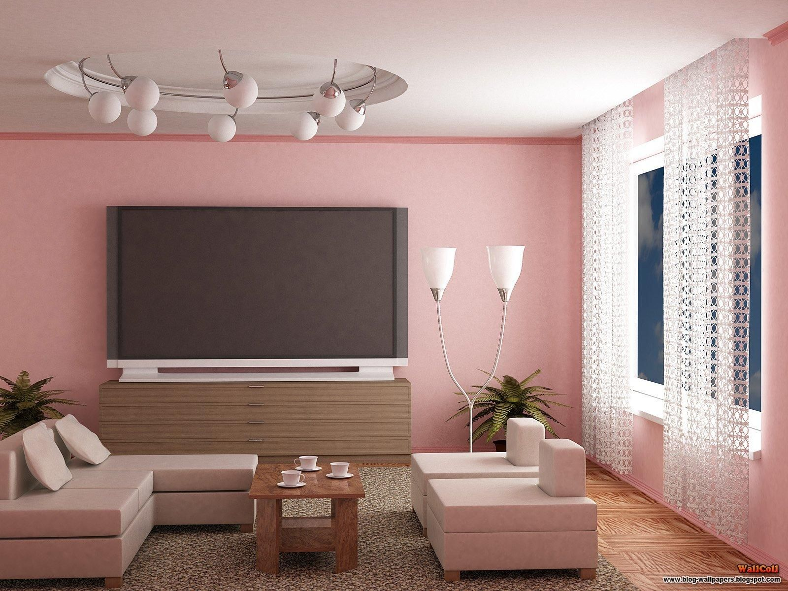 Cute living room paint idea in chic pinky theme with pink wall paint color and huge tv over wooden cabinet also unique floor lamp and pendant lamps set also