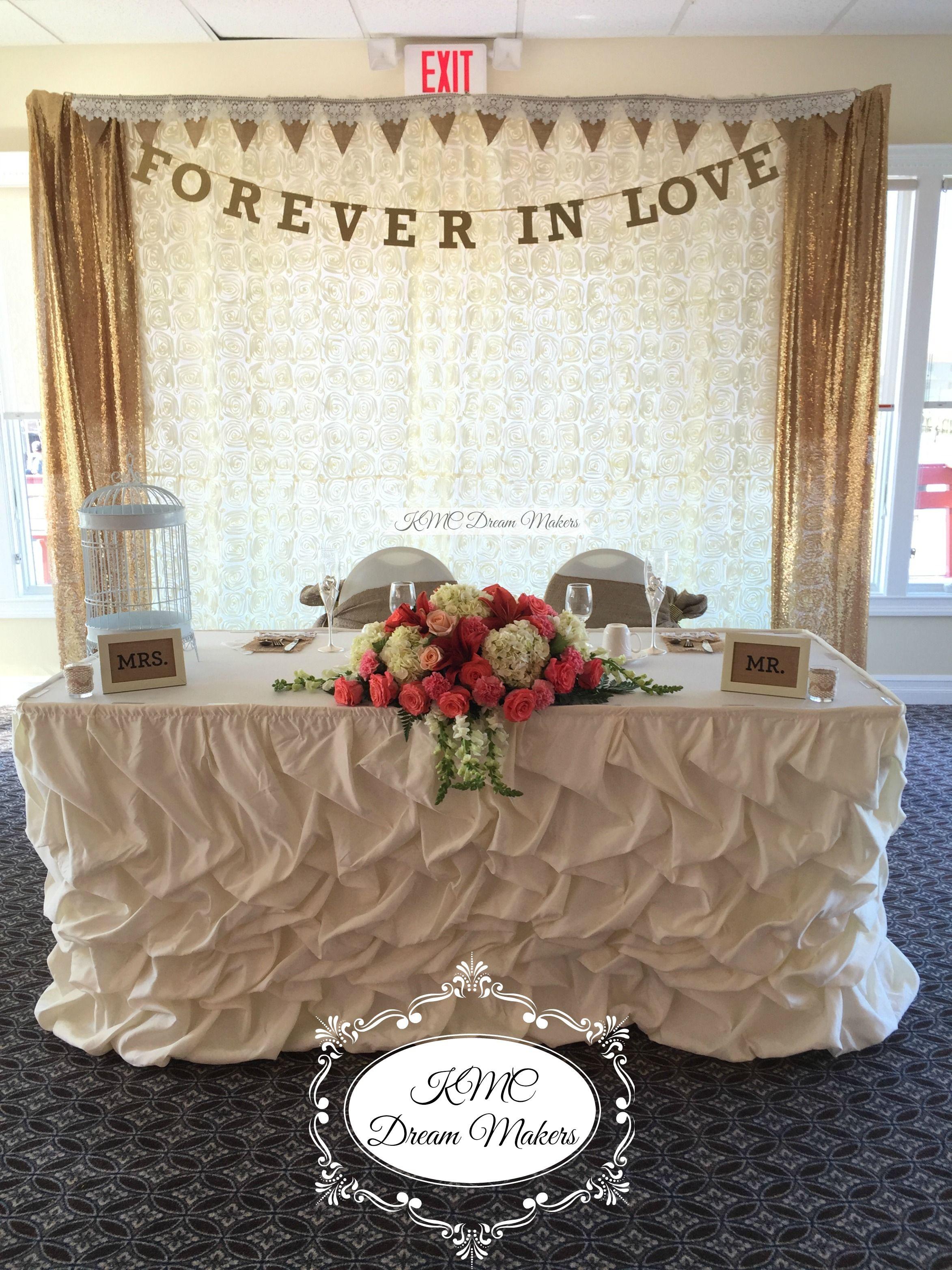 Bride & Groom Table! #kmcdreammakers  #flowers #bride #groom #weddings #burlap #coral #gold #decor #decorations #backdrop #sequins