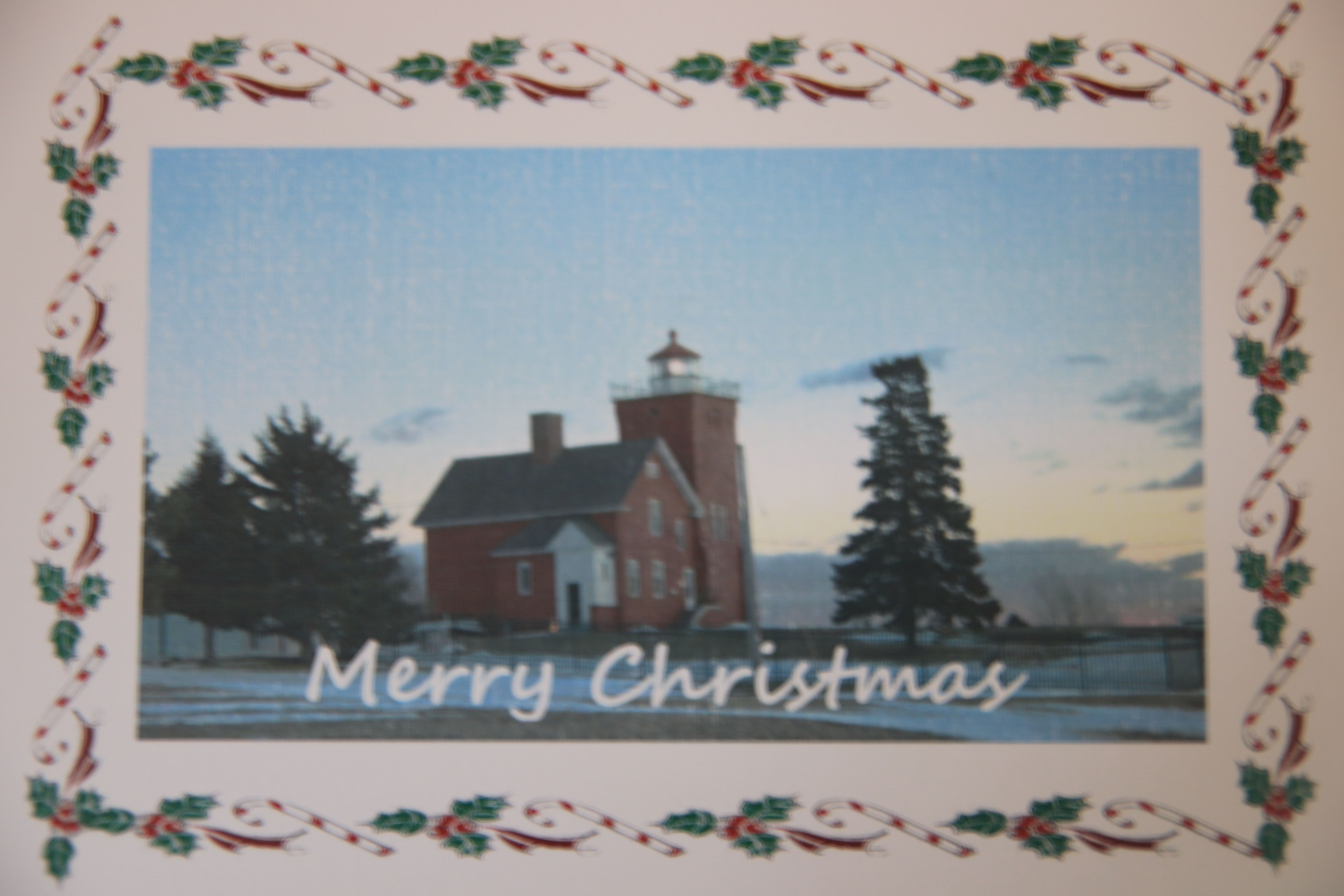 Card features an original photograph of Two Harbors (MN) Lighthouse ...