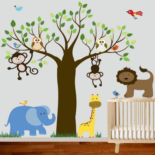 Einfache Kinder Schlafzimmer Deko-Ideen: Lustige Urwaldbäume Und Löwen Tier Im Schlafzimmer Für Kinder ~  Schlafzimmer Inspiration