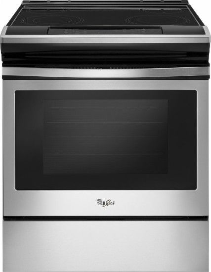 $900 Whirlpool - 4.8 Cu. Ft. Self-Cleaning Slide-In Electric Range - Stainless Steel - Front Zoom