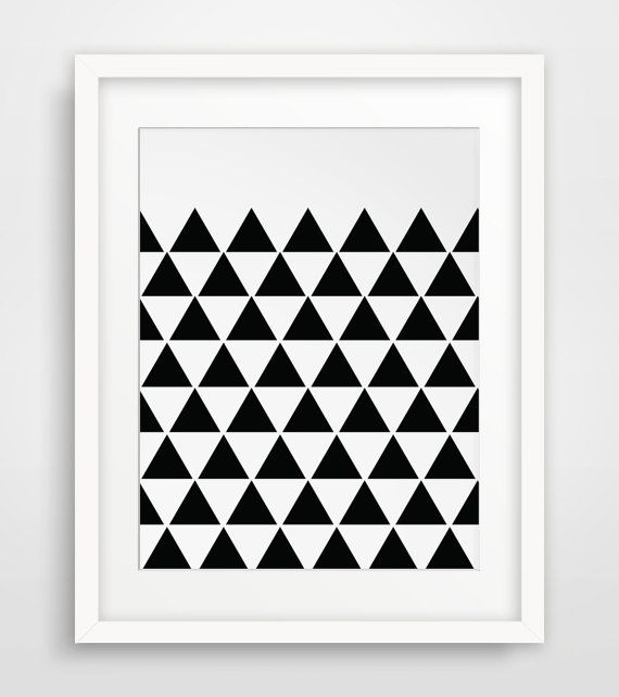 Triangle Place Apartments: INSTANT DOWNLOAD: Many Black Triangles Wall Print