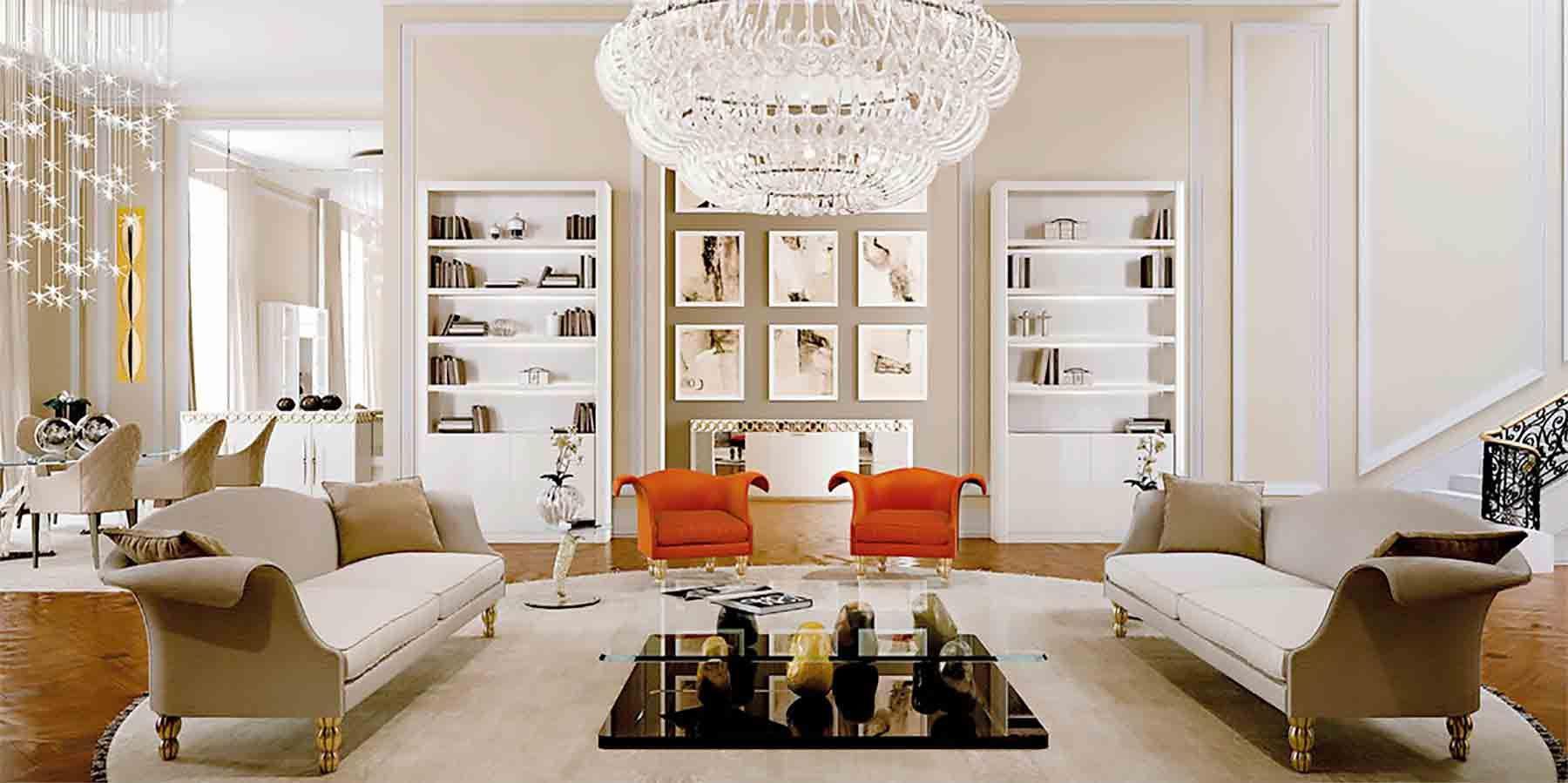 Meubles de luxe Grand salon luxueux   Salon luxueux