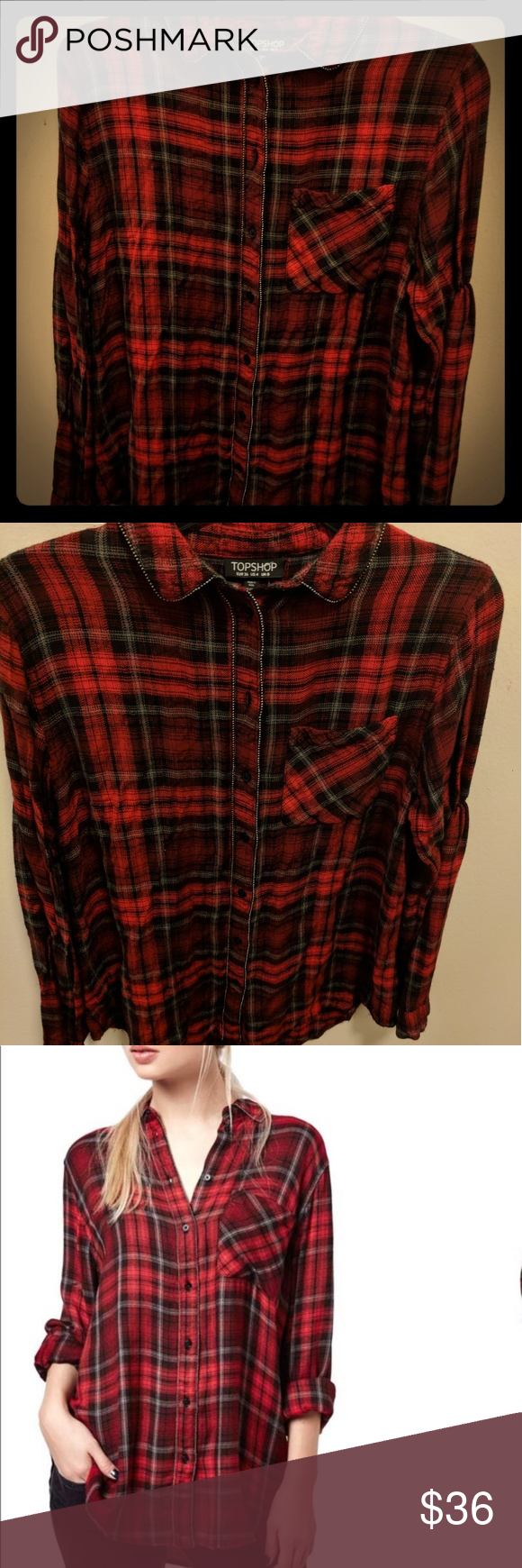Dark red flannel  Topshop Flannel  Flannels Black plaid and Topshop