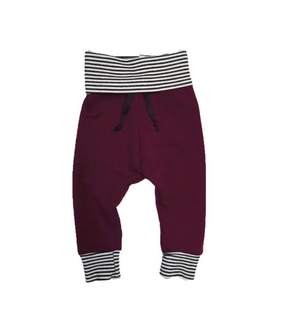 e5c3e7697a94a Maroon / Stripe Joggers - Baby Boy Leggings - Baby Pants - Toddler Leggings  - Harem Pants - Baby Har