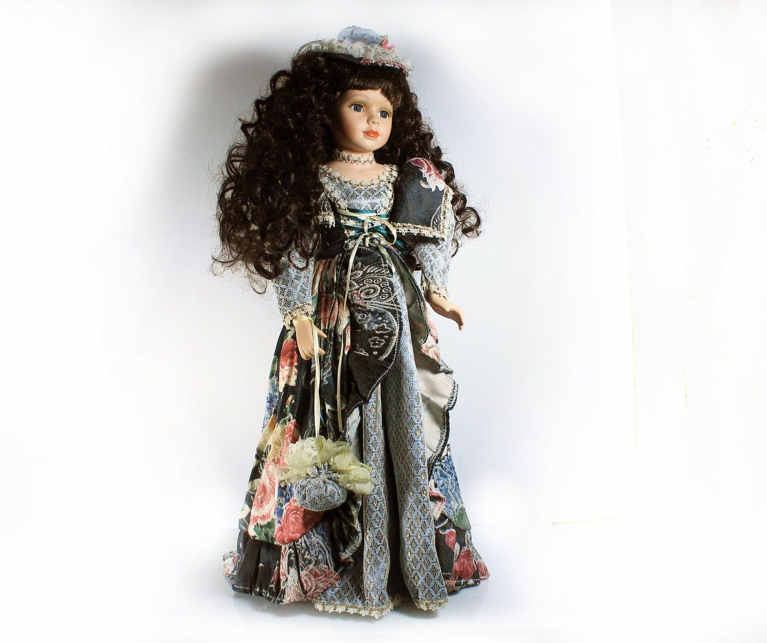 Porcelain Doll, Collectible Victorian Doll, Stand Included