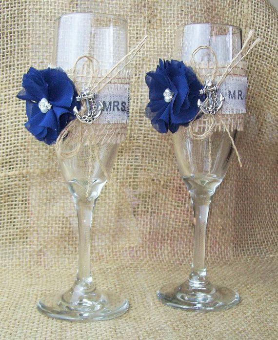 Nautical Wedding Anchor Champagne Flutes,Toasting Wedding Flutes,Navy Blue Anchor Wedding Flutes