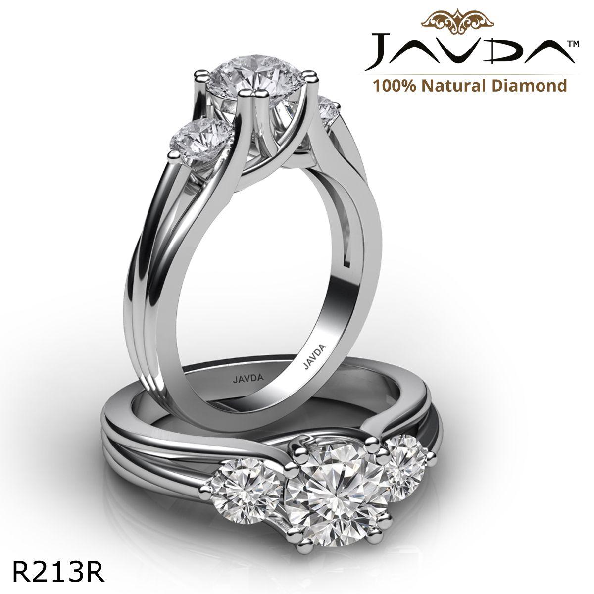 Classic Trellis Three Stone Round Diamond Engagement Ring 14k White Gold.