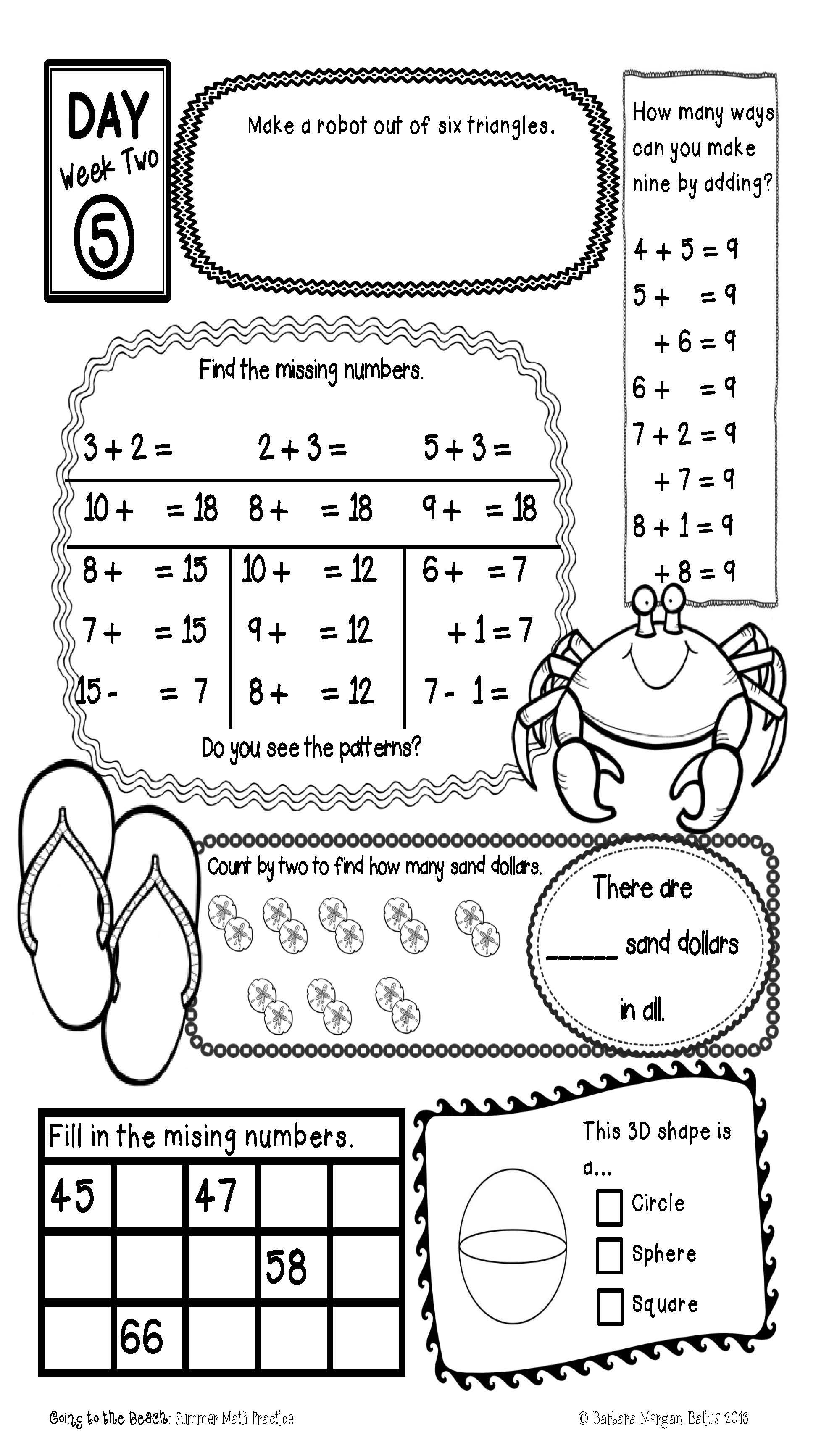 First Grade Summer Math Practice Common Core Aligned Prevent The Summer Slide Math Worksheets Common Core Math Kindergarten Summer Math Practice