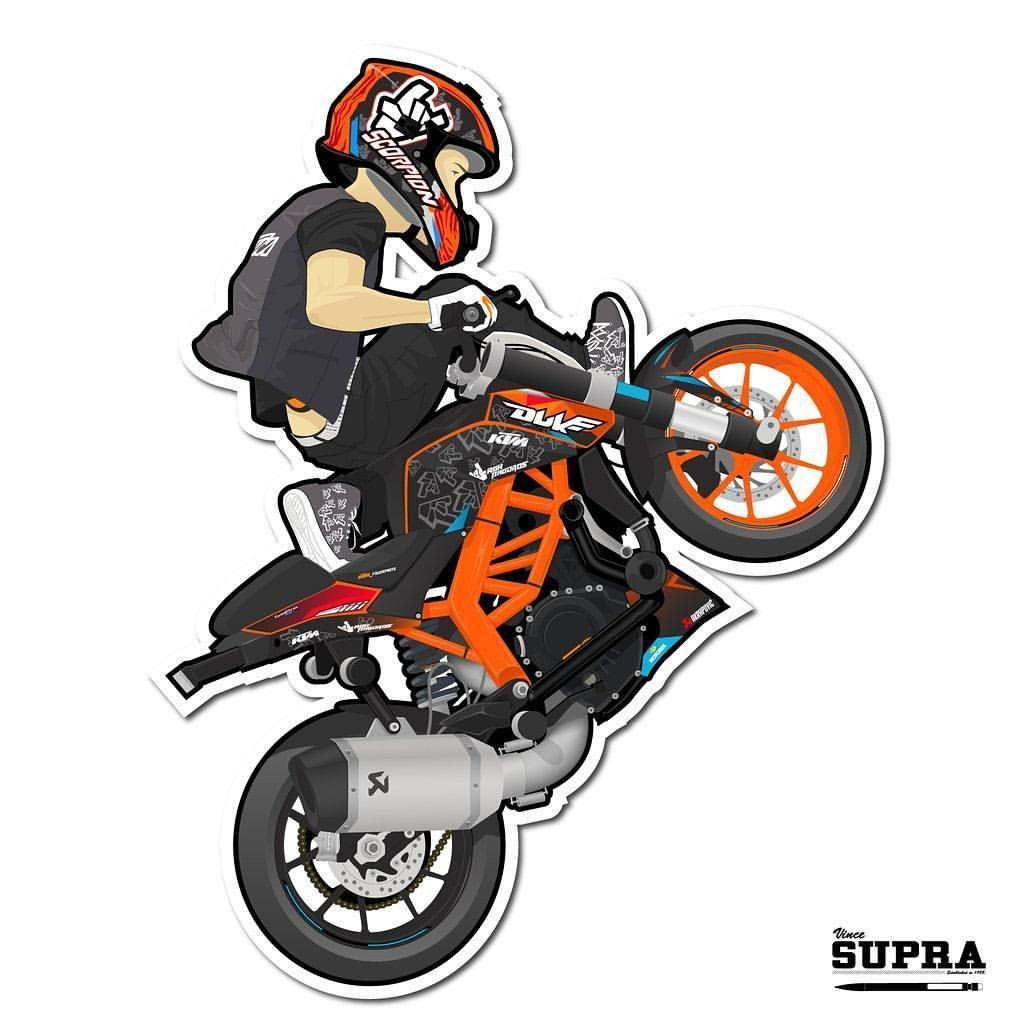 Cartoon Rokbagoros On His Ktm Duke 200 Doodle Ktm Duke