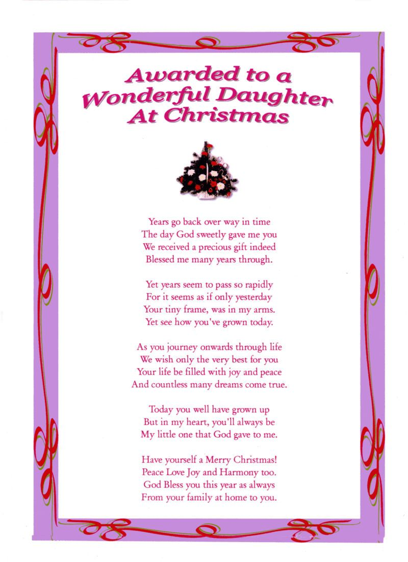 Daughter Poems | Daughter - Christmas Laminated Poem Gifts | Darling ...