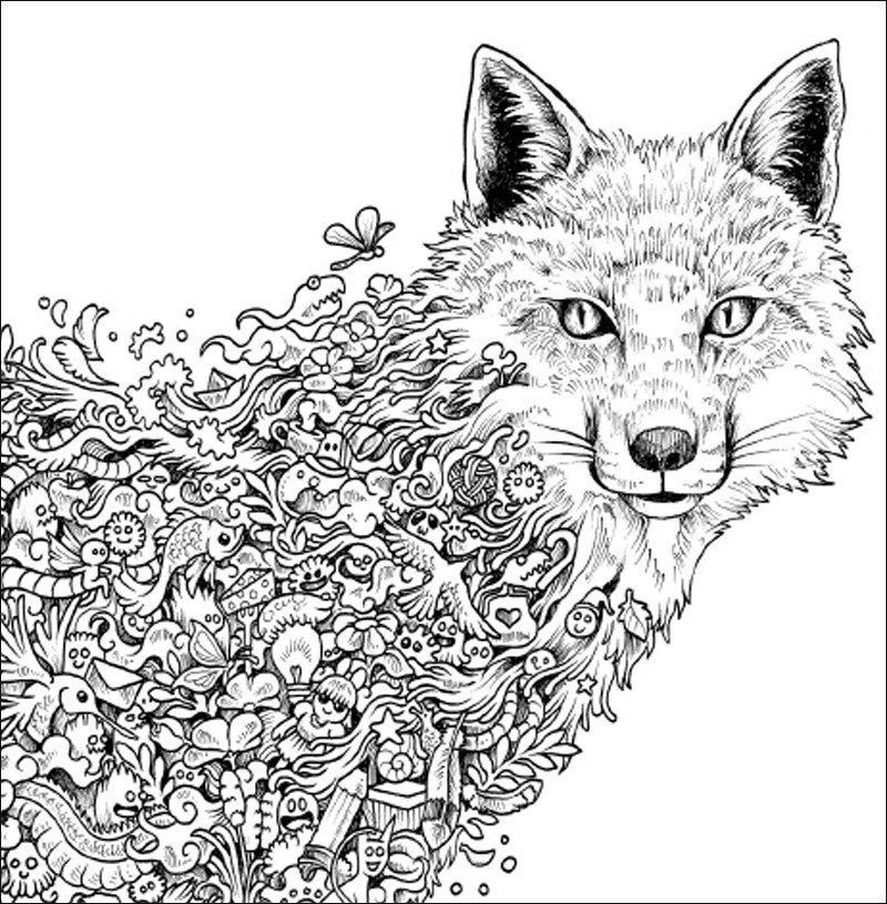 Adult Coloring Pages Fox 2 Fox Coloring Page Animal Coloring