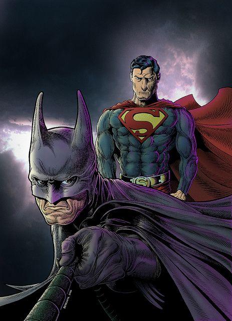 Batman & Superman. Ink + Digital Color. 2011. Fan art by Pato Berroeta.