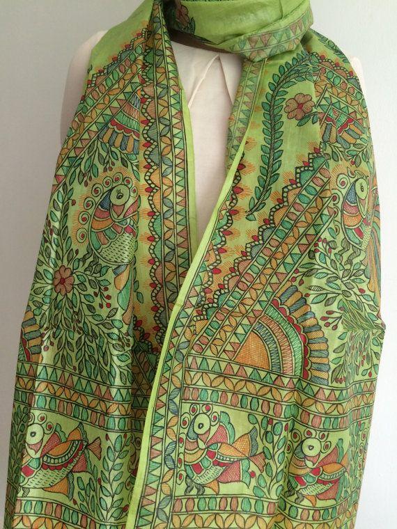 9ab5ab34036fd Women's Green Scarf / Stole / Dupatta - Unique Silk Hand Painted ...