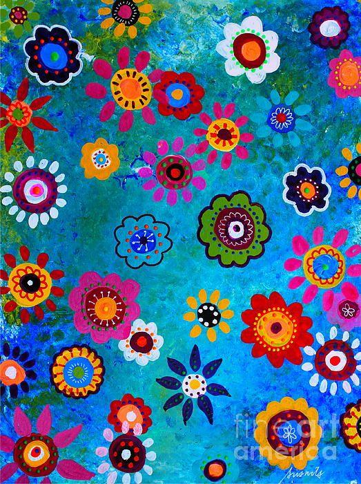 BLOOMS,FLORALS,FLOWERS,MEXICAN,ART,FOLK ART, PAINTING ...