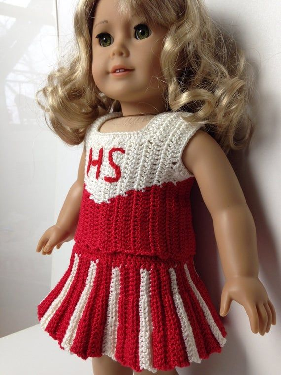 CHEER LEADER outfit American Girl 18 inch doll 2 pc set crochet pattern (050)