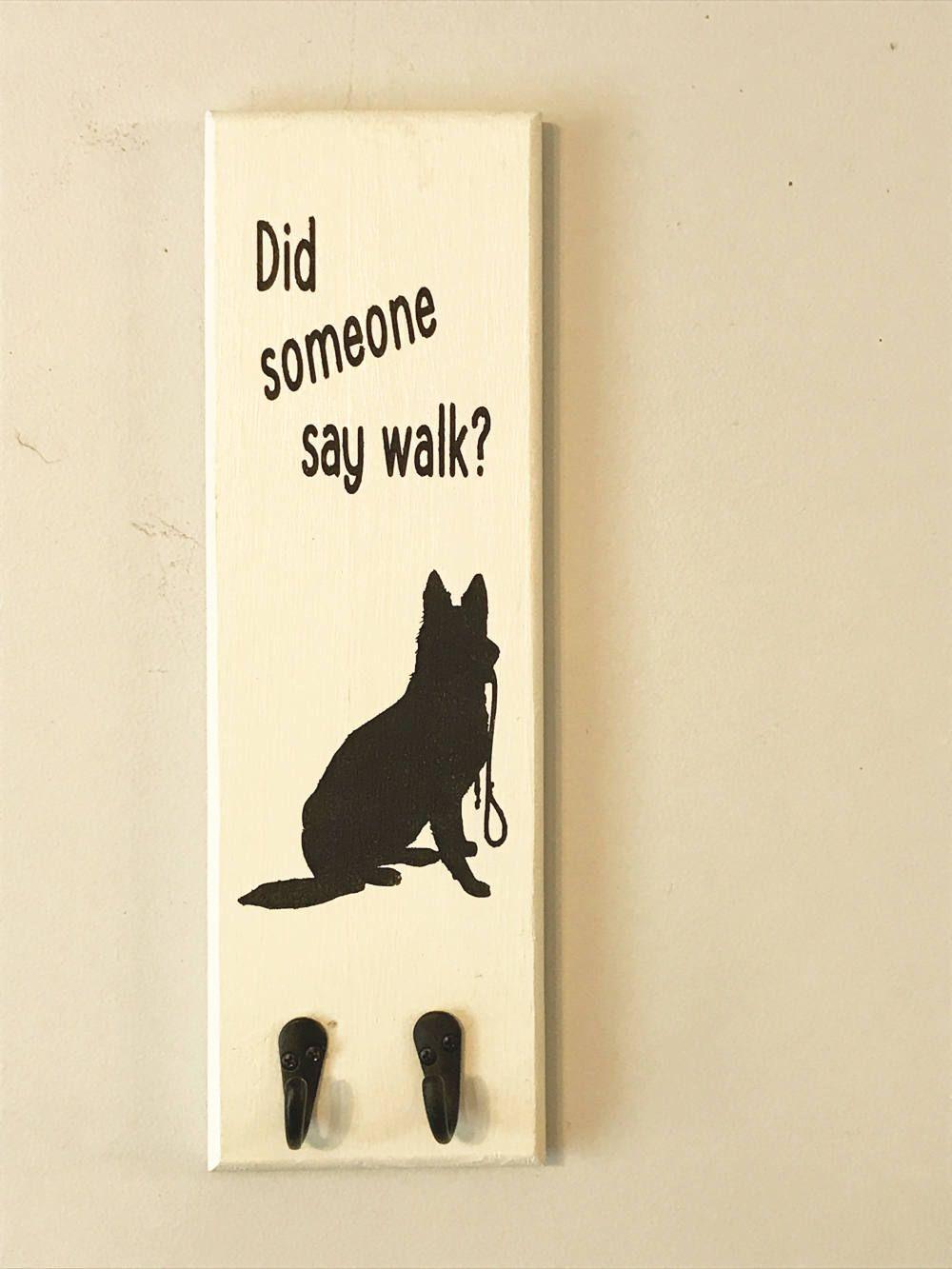 Dog Leash Holder, German Shepherd, Wooden Signs, Pet Storage, White/black