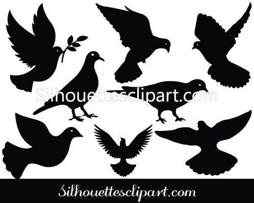 Dove Silhouette Vector Clipart - Awesome Doves | BIRDS