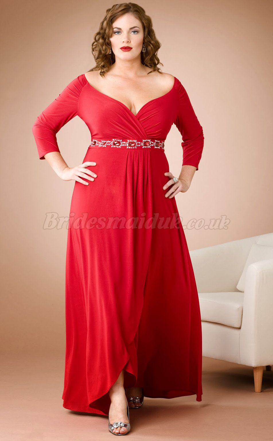 Chiffon red plus size bridesmaid dresses with sleeves at