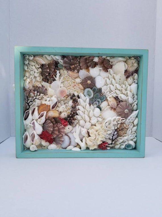 Sea Shell Mosaic Wall Art Beach Decor Sea Shell Art Bathroom Art