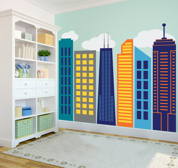 Bold Colorful Geometric City Skyline Wall Decal Custom Vinyl Art - Large custom vinyl stickers
