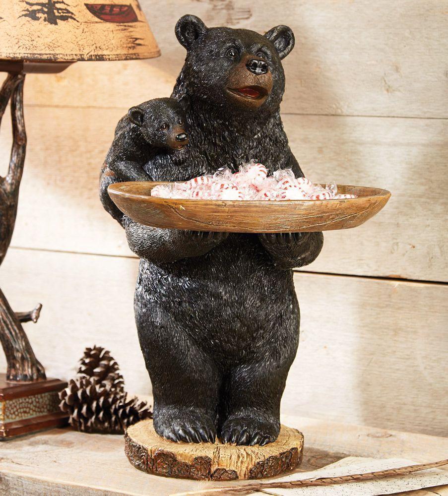 Bear Decorations For Home: Black Bear Candy Tray/Bird Feeder