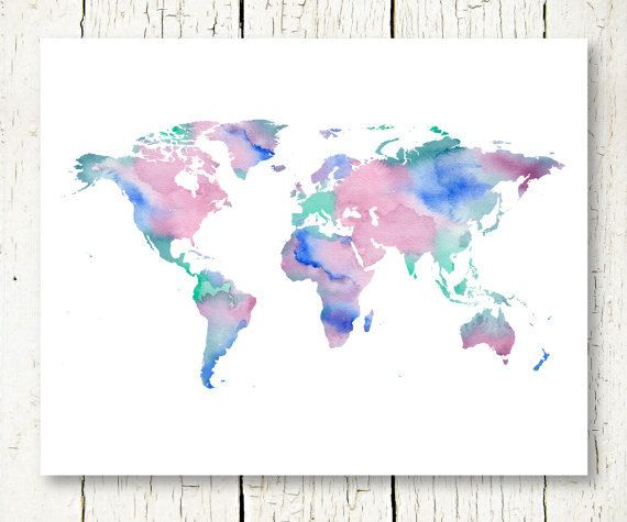 Large watercolor world map print download blue purple green world large watercolor world map print download blue purple green world map of the world wall art decor poster digital print instant download jpg gumiabroncs Images