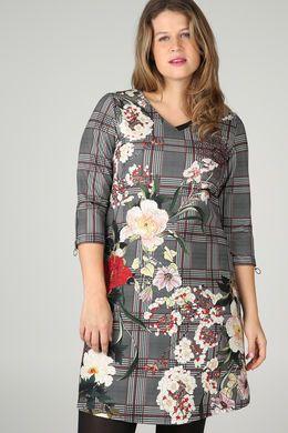 Mit Karos und Blumen bedrucktes Kleid, Schwarz | Paprika ...