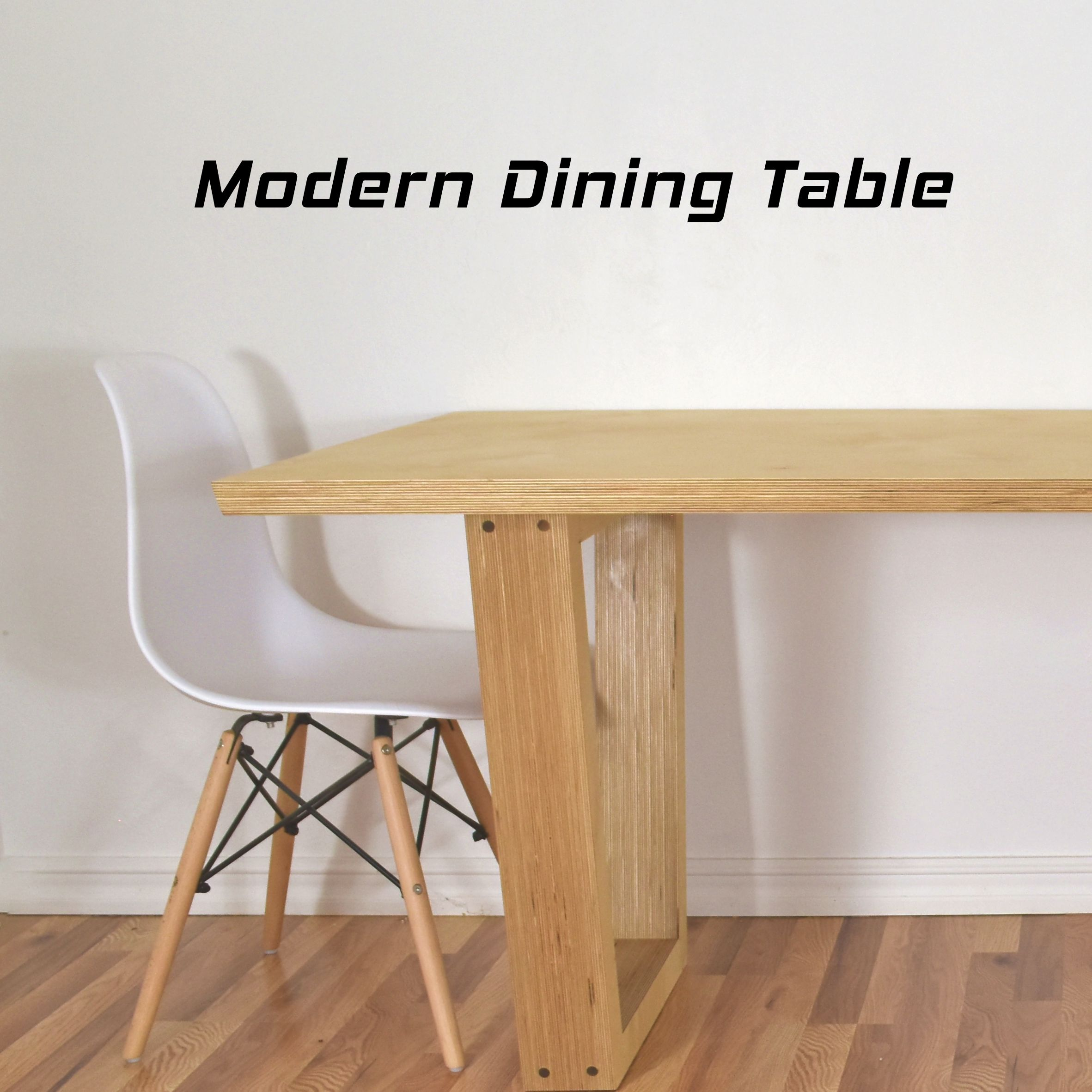 A Modern Dining Table Built From 3 4 Baltic Birch Plywood With A Trapezoidal Base Modern Dining Table Plywood Diy Cheap Dining Tables