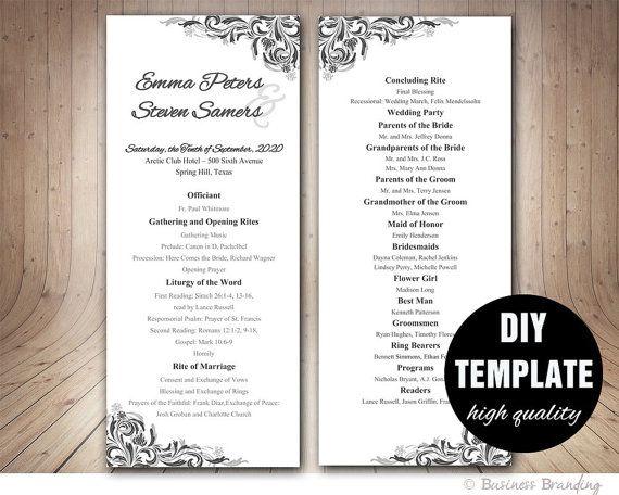 Elegant Wedding Program Templatediy Silver By Paperfull On Etsy