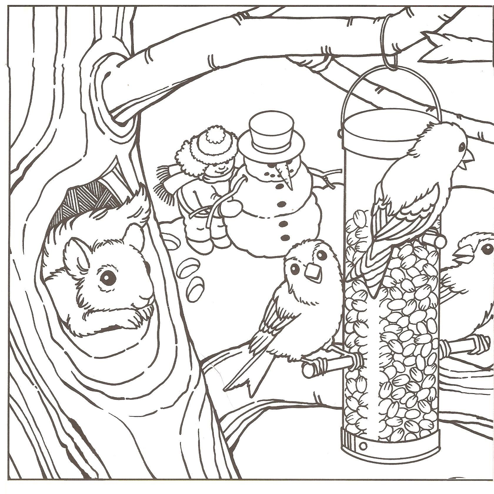 Winter Scenery Colouring Pages