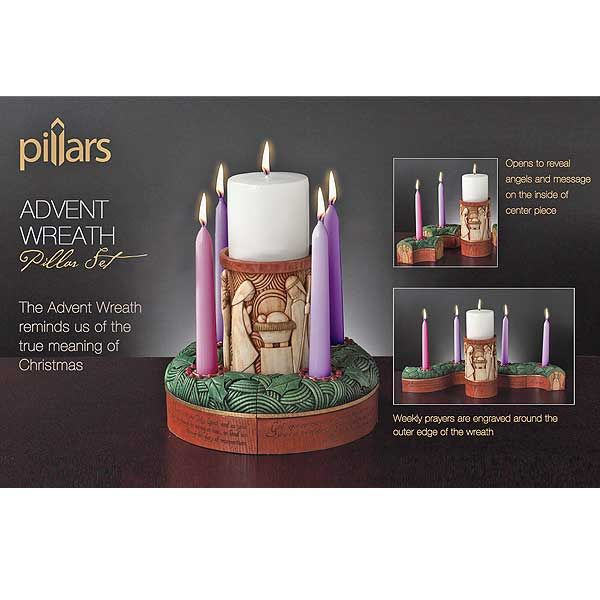 Beautiful Christian Decor for Advent! 5 Piece Advent Wreath Includes Engraved Prayers, Angels, And Places For Both Pillar And Taper Candles. Great For Home Decoration Or As A Gift. printeryhouse.org. #printeryhouse