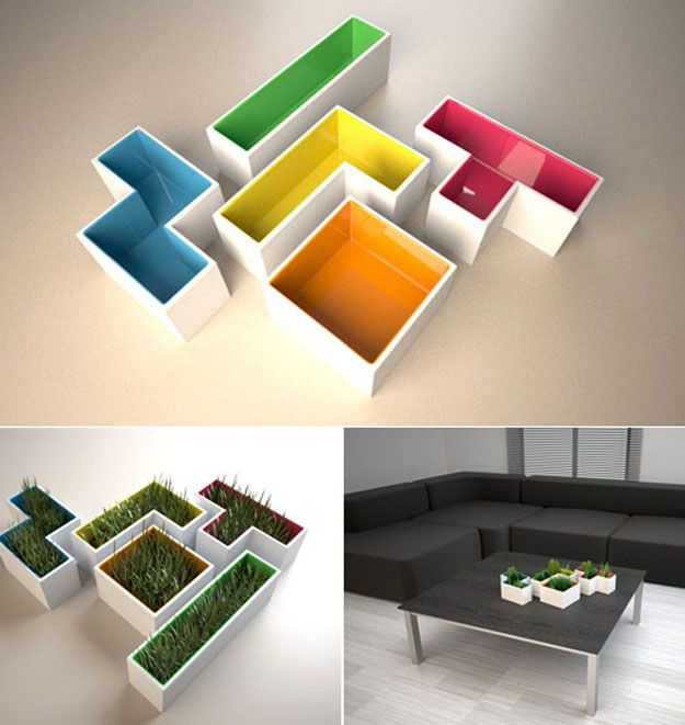These Tetris Planters. | 17 Of The Geekiest Furniture Items For Your Home|  Geeky