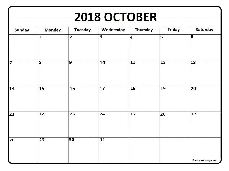 Free Calendar For October 2018 Printable Blank Templates Monthly