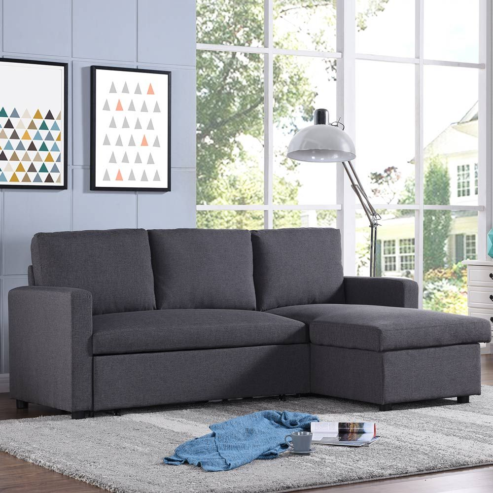 Merton 3 Seater Corner Storage Futon Sofa Bed Tweed