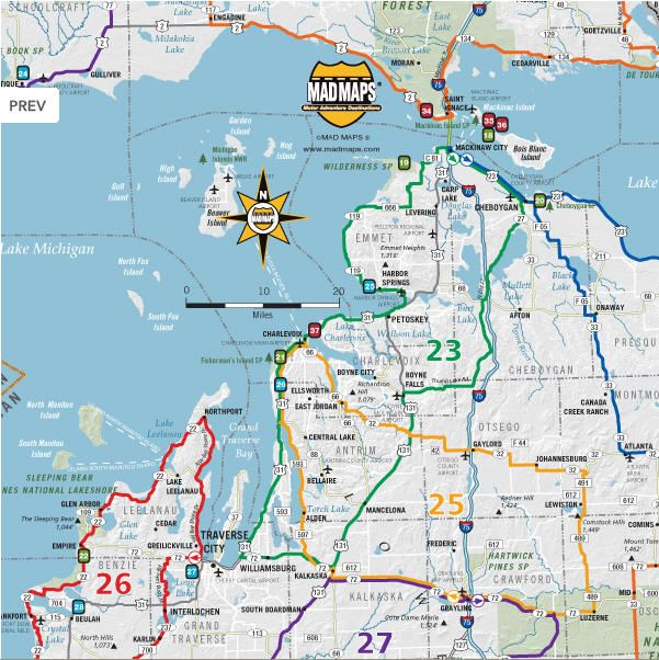 Road Maps With Back Roads Michigan Scenic Road Trips Of - Wi road map