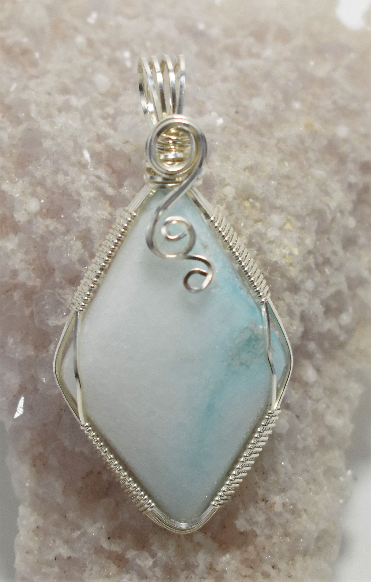 Gorgeous Blue Hemi-Morphite Wire Wrapped Pendant - Wrapped in .925 ...