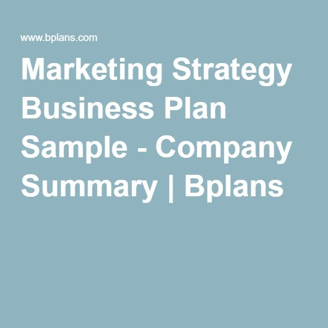 Marketing Strategy Business Plan Sample
