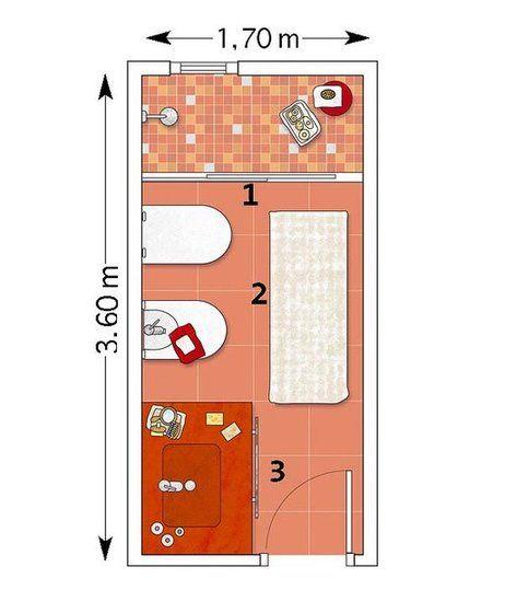 Un ba o rectangular en rojo y blanco dise os ba os for Distribucion banos pequenos diseno