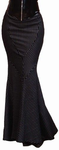 Pinstripe Fishtail skirt (idea only)...midcalf w/ high-heeled boots