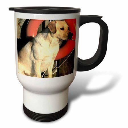 3dRose Yellow Labrador Lab, Travel Mug, 14oz, Stainless Steel