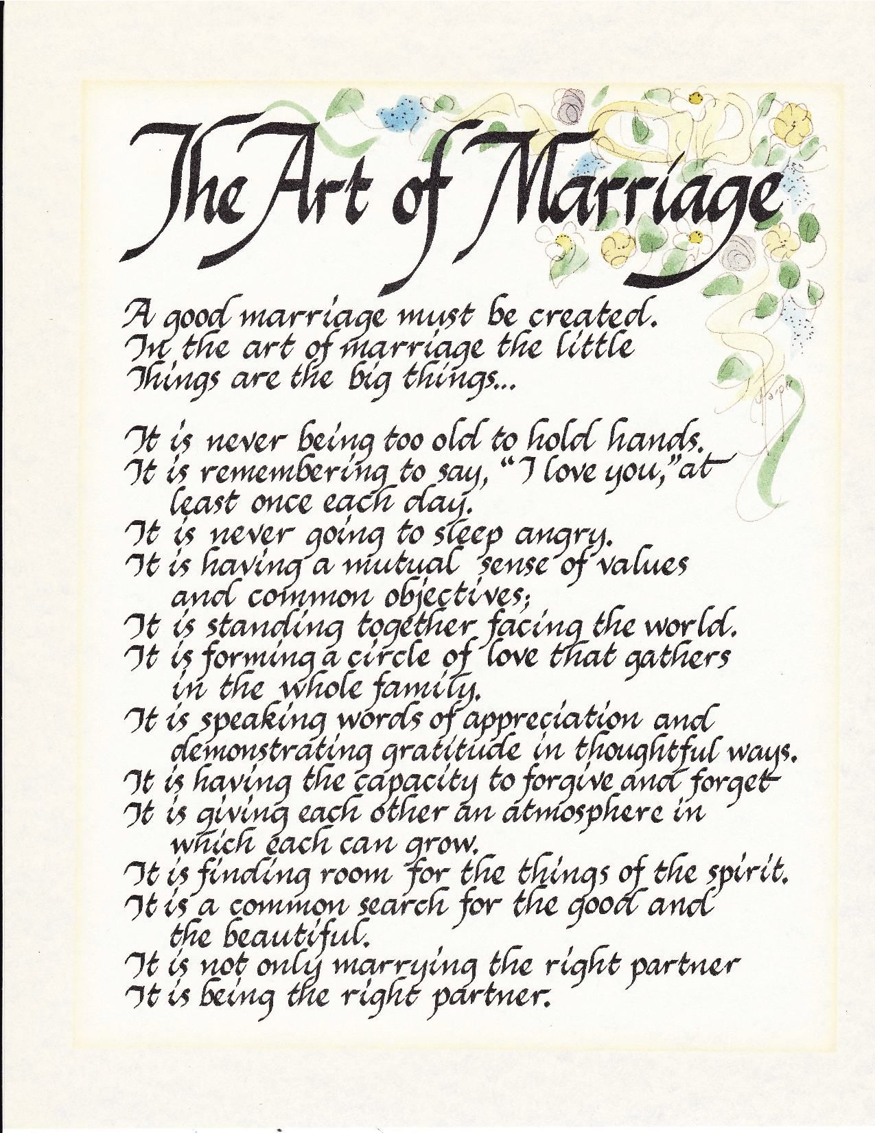 The Art of Marriage Wedding poems, The art of marriage