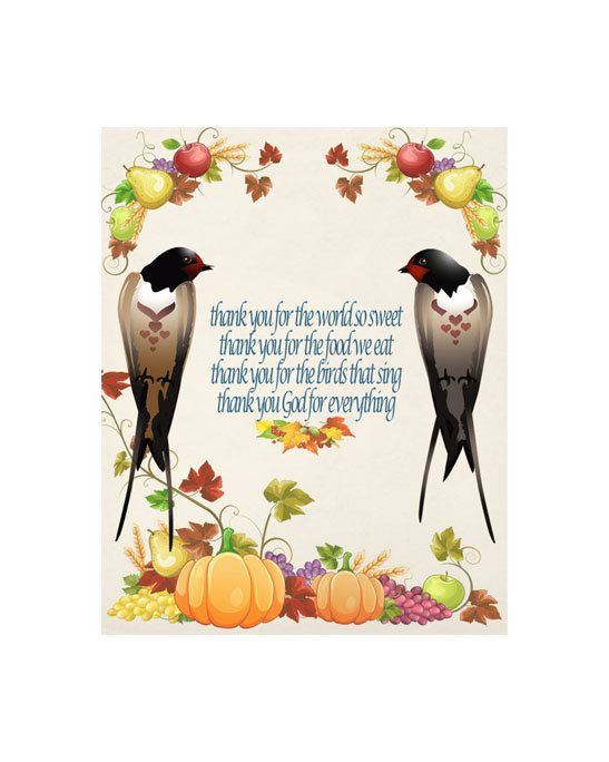Thanksgiving,Digital Thanksgiving, Bird Image, Childs Prayer Quote, Poster Wall…