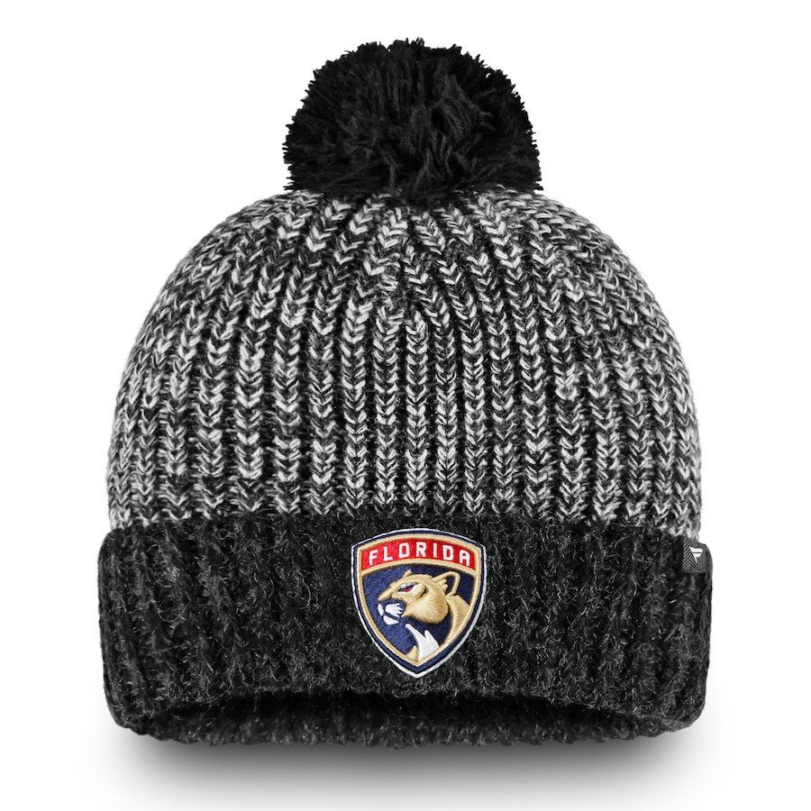 6f67d0301e4 ... official mens florida panthers fanatics branded black iconic cuffed knit  hat with pom your price 24.99