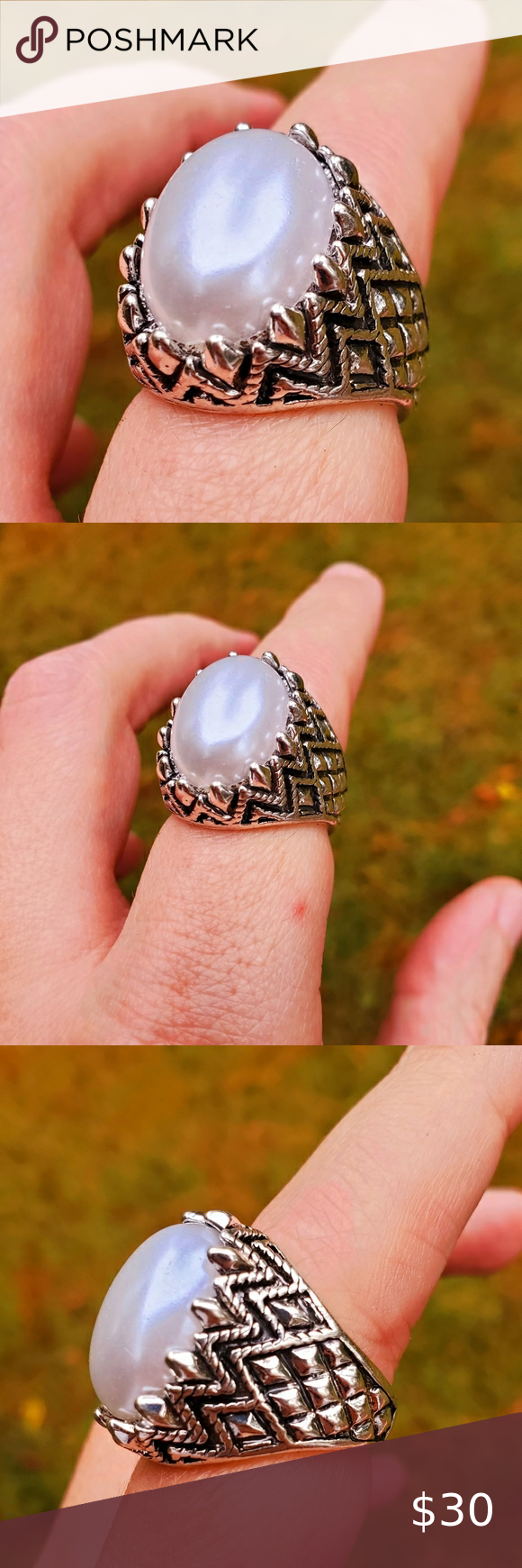 Check out this listing I just found on Poshmark: Eagles Egg Pearl Silver Gothic Ring Size 7.5. #shopmycloset #poshmark #shopping #style #pinitforlater #Jewelry