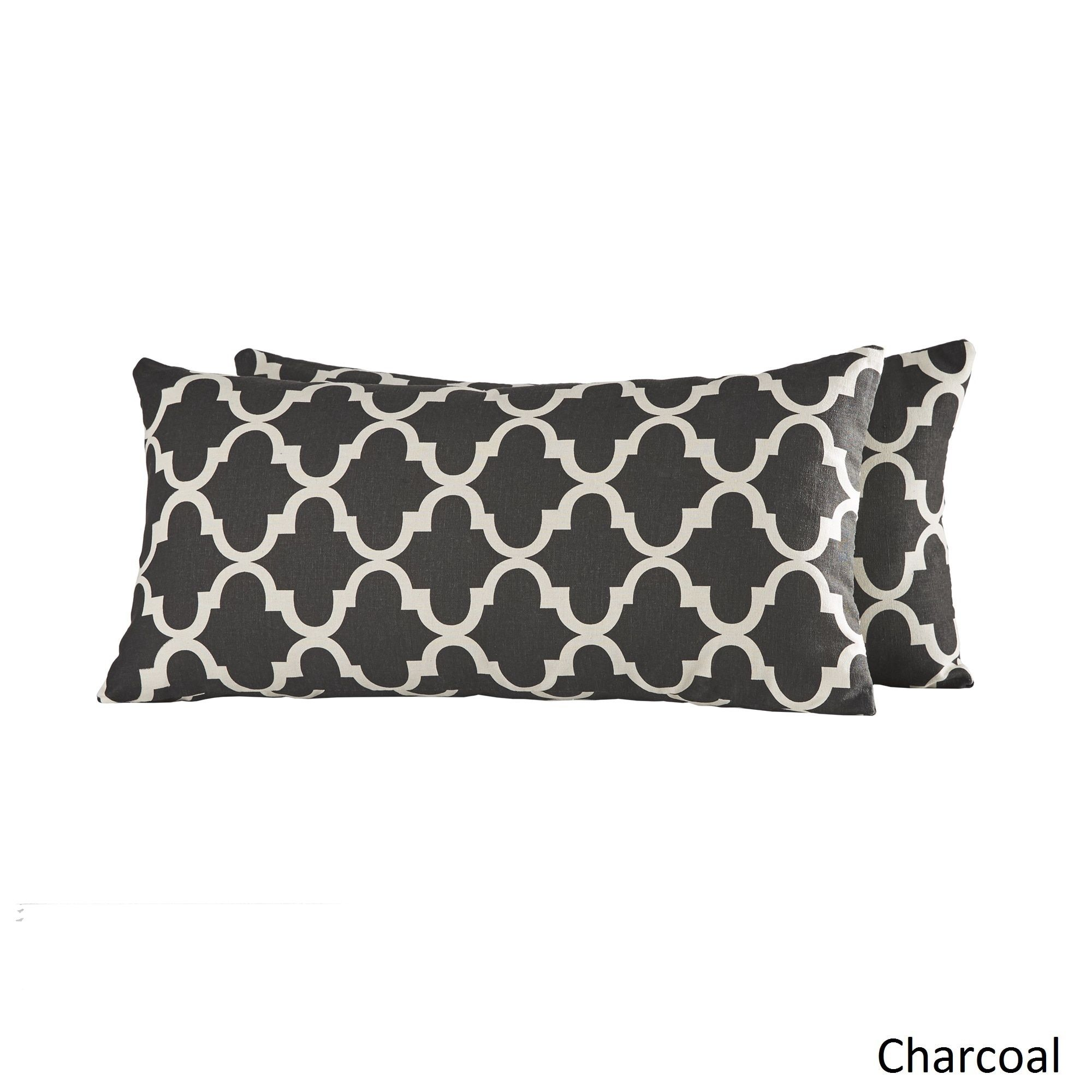 Add an elegant accent to your furniture dcor with this pair of soft throw  pillows boasting a classic Moroccan pattern as a bright standout touch.