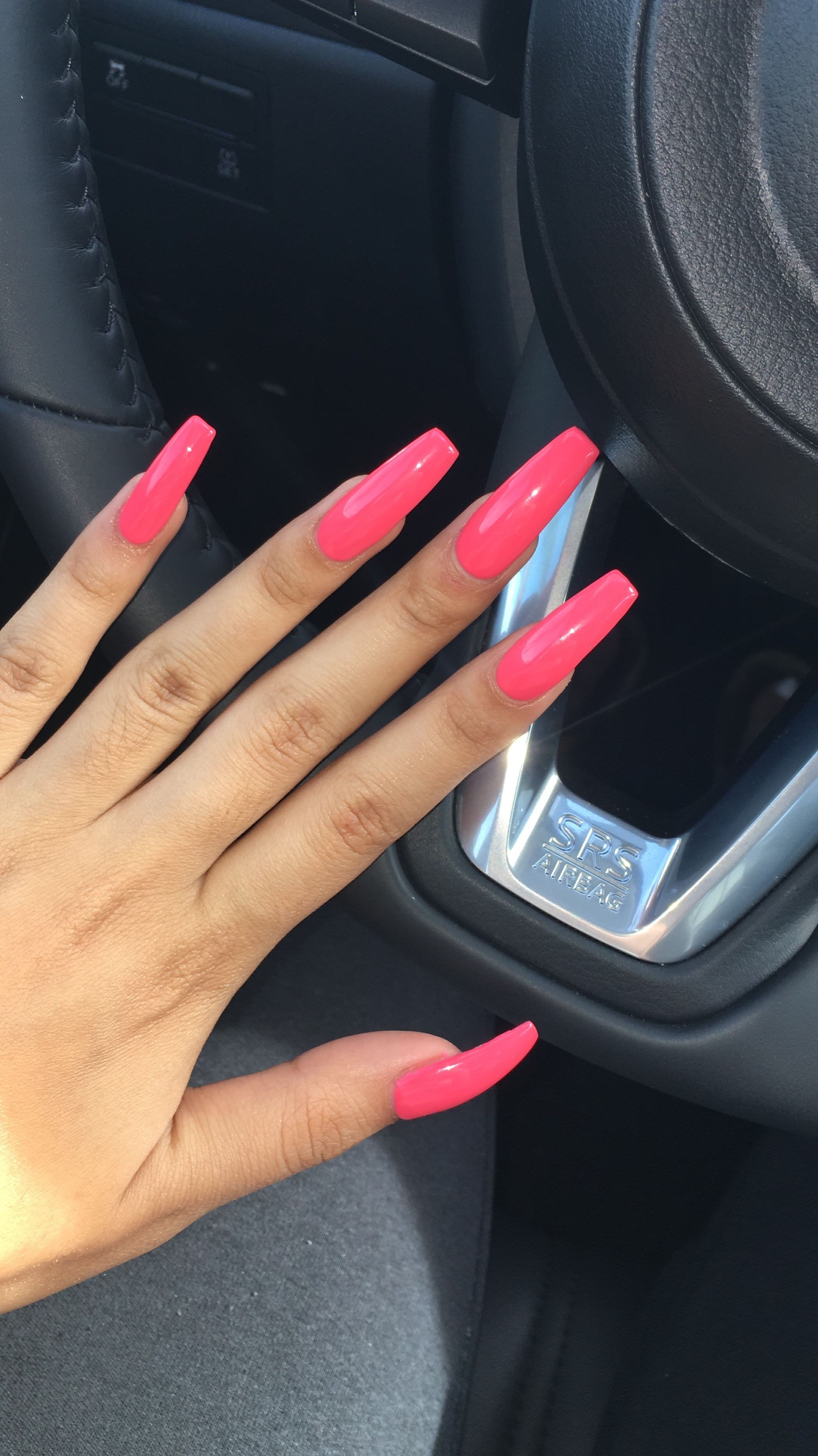 Hot Pink Acrylic Coffin Nails Pink Acrylic Nails Long Acrylic Nails Colourful Acrylic Nails