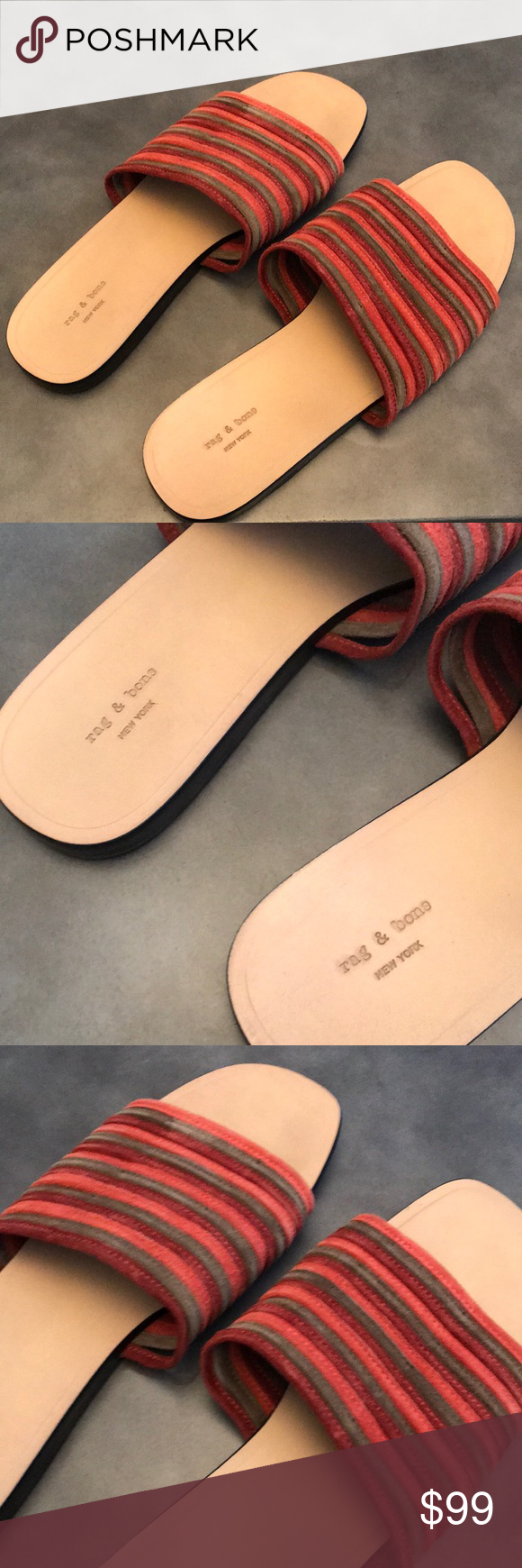 ab45a2f47b9b0a Rag   Bone Cameron Slide Sandal Details Perfectly aligned mignon straps  stitched from velvety suede bridge